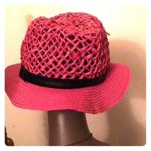 Ladies Paper Straw Leather Band Hat!